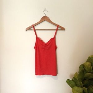 Urban Outfitters Ribbed Orange Tank with Ruffle